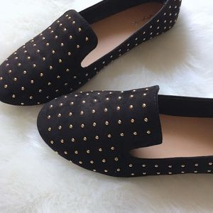 Shoes - Gold Studded Ballerina Flats